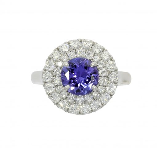 tanzanite double halo ring royal style engagement ring sparkly sparkling