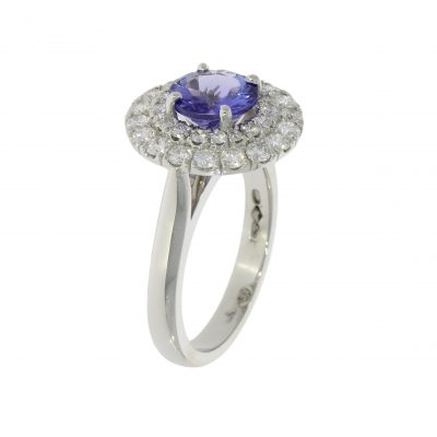 tanzanite diamond double halo engagement ring dazzling stylish fashionable royal