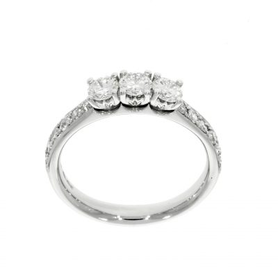 platinum three stone diamond grain claw shoulders engagement ring