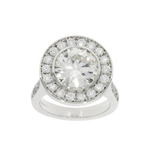 An amazing 4ct bespoke platinum halo engagement ring