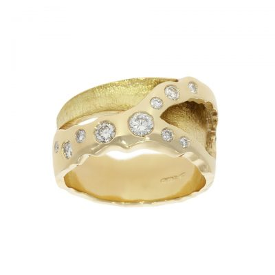 A molten organic diamond yellow gold unusual and weird wedding ring