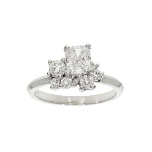 Cushion cut assymetric unusual mixed engagement ring