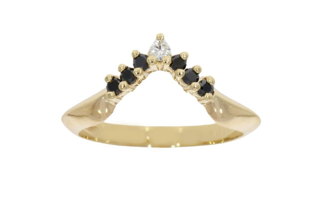 Black Diamond Shaped Wedding Ring