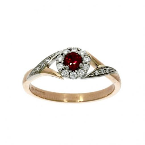 white rose ruby diamond gold flower flowing engagement ring vintage style 40s