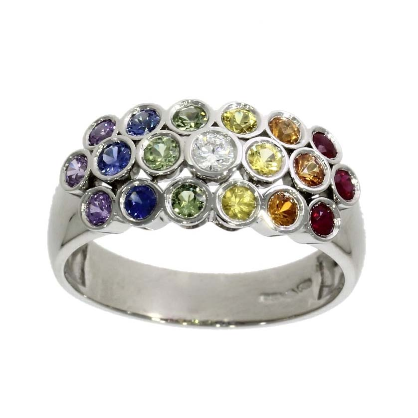 Platinum, rainbow range multi-coloured sapphire, ruby ...