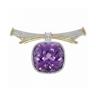 18ct yellow white gold purple stone cushion cut amethyst diamond collar