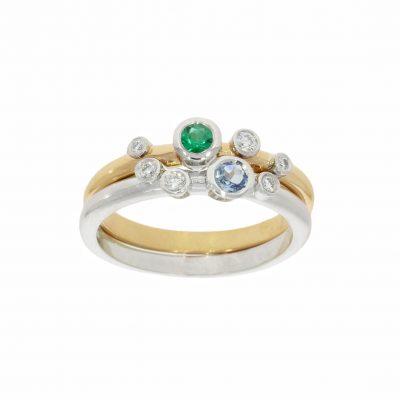 sterling silver solid gold aqua emerald diamond stacking rings nicholas wylde