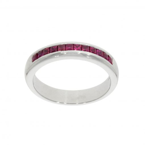half ruby eternity ring alternative wedding ring unique