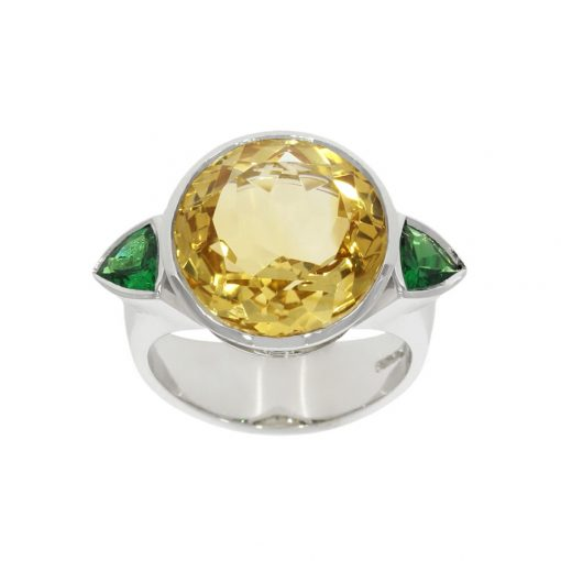 White gold yellow and green trilliant cocktail ring