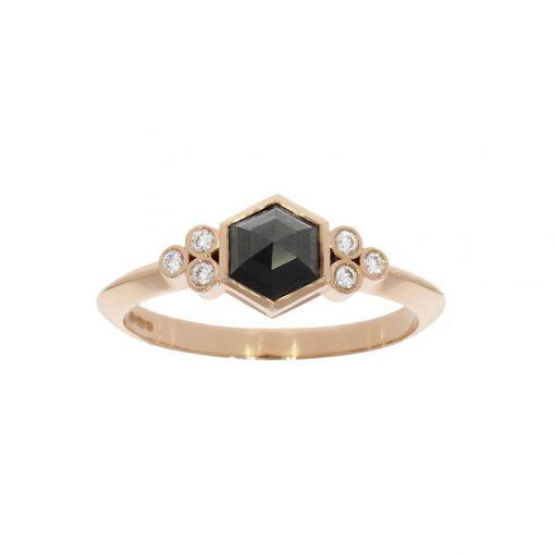 Rose gold hexagon rose cut black diamond engagement ring