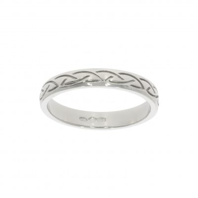 Womens irish inspired celtic platinum wedding ring