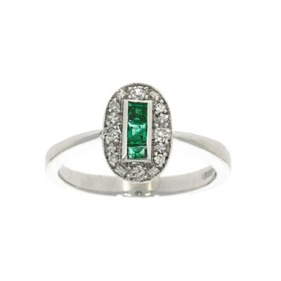oval deco emerald engagement ring art 20s 30s 40s