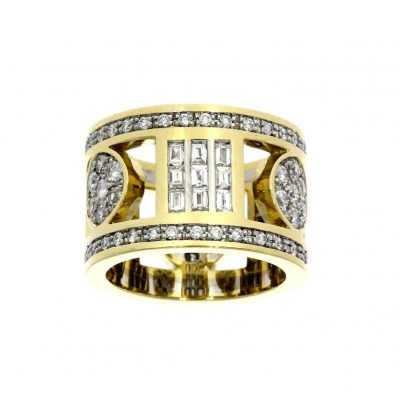 greek style stylish fashioable dress cocktail yellow gold diamond ring