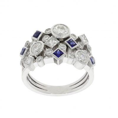 blue sapphire diamond cluster dress cocktail white gold platinum wylde ring