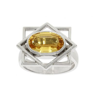 CI1934 White gold and citrine geometric oval dress ring