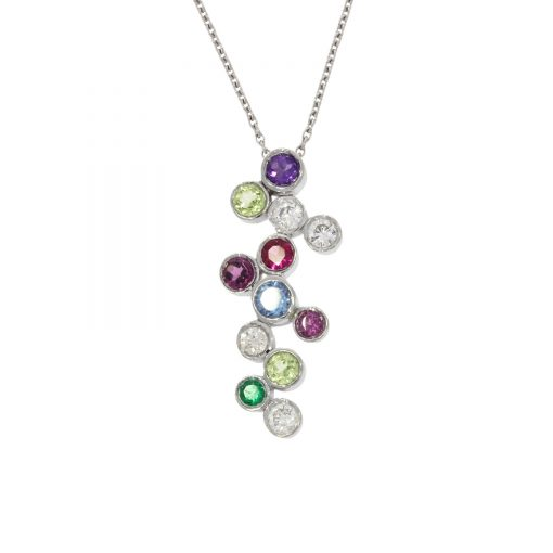 A white gold multi-stone birthstone necklace representing the whole family.