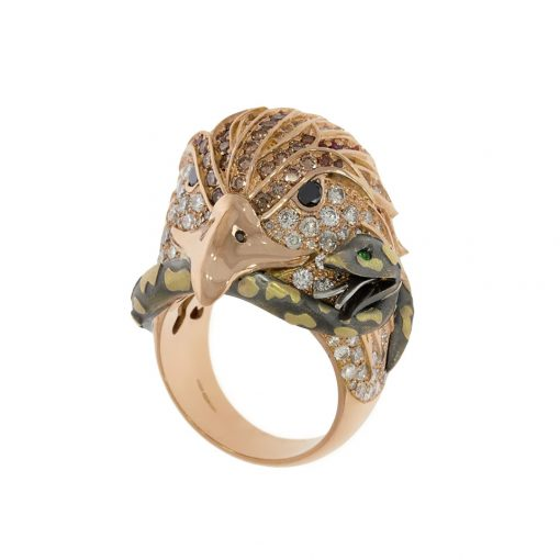 A rose gold and platinum multi stone diamond eagle snake dress ring