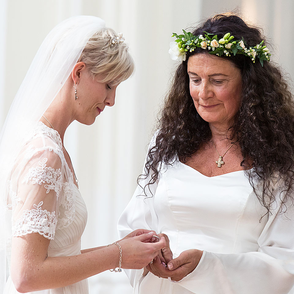 Beautiful mature lesbian bride and bride couple wedding day
