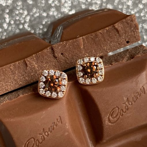 chocolate and white cushion shape cluster stud earrings at wylde