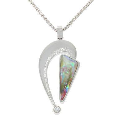 Nicholas Wylde Kieran Black Opal Diamond Abstract Pendant Necklace