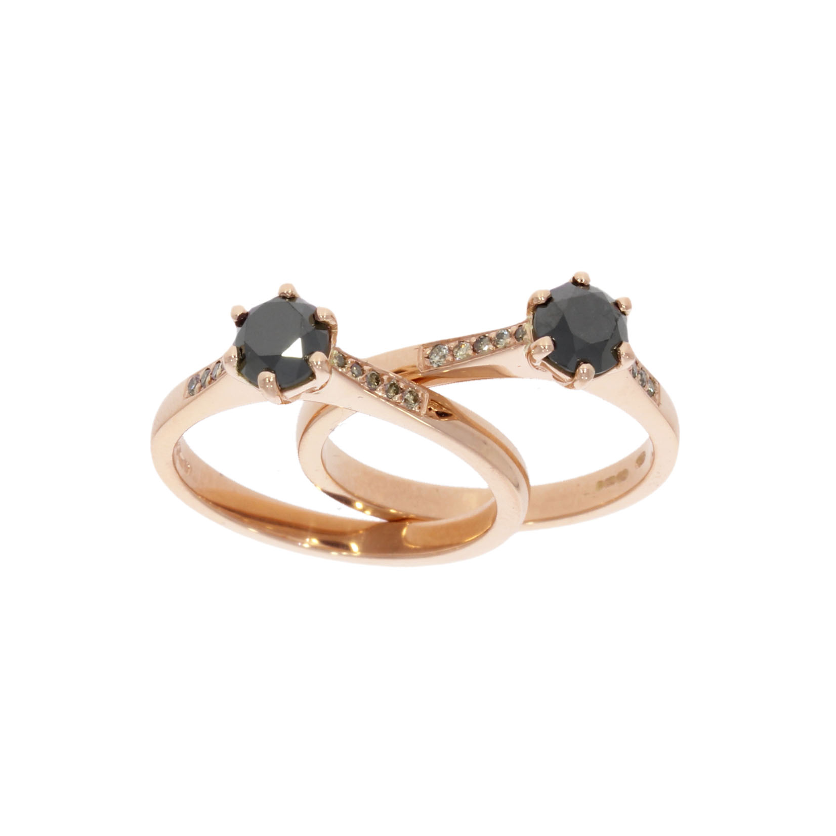 rose gold black diamond lesbian gay lgbt matching engagement wedding rings uk