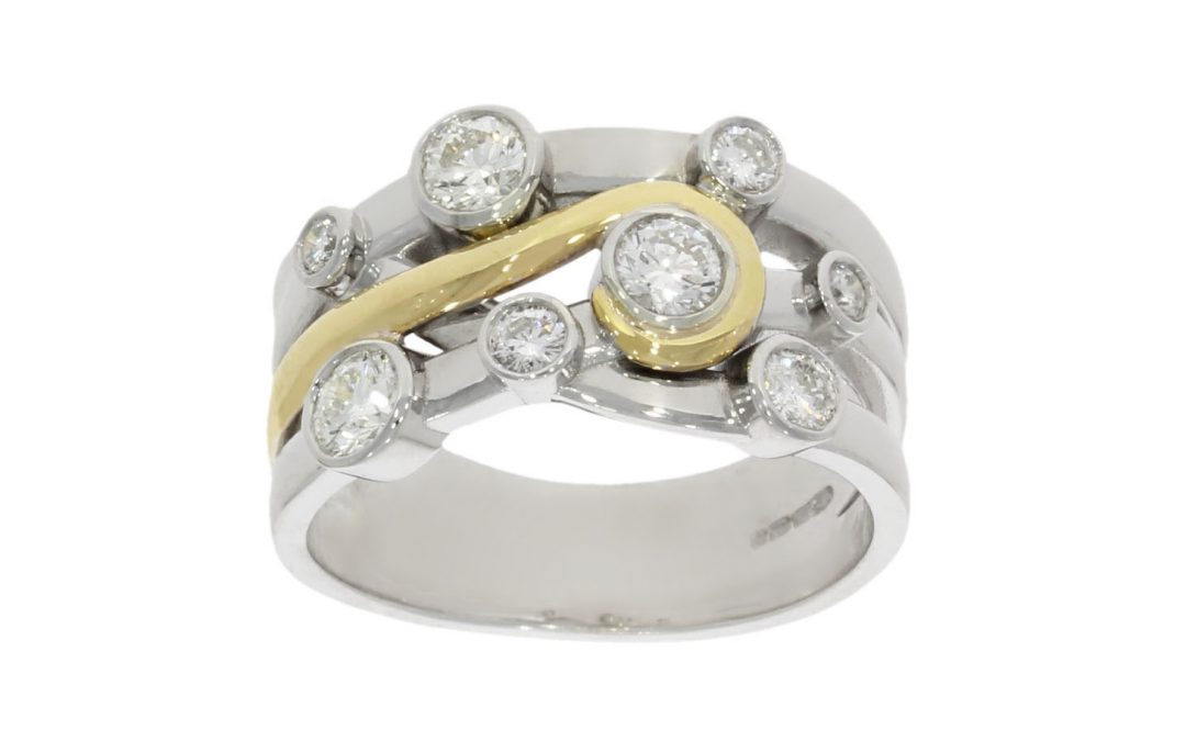 Mixed Gold Diamond Cross-over Ring