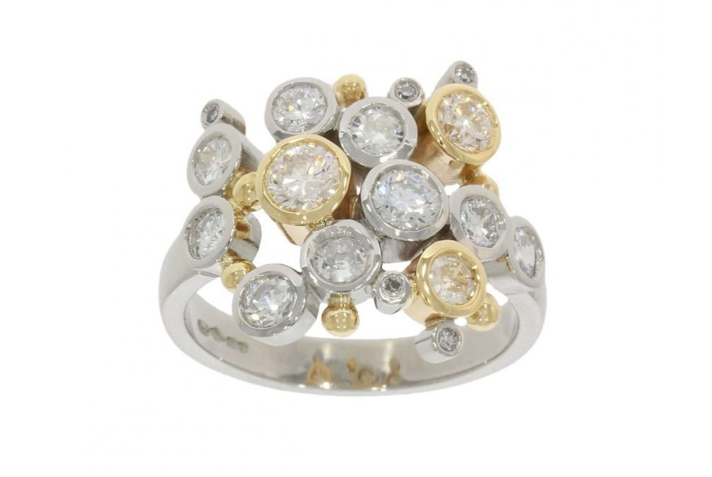 Mixed Gold Multi-Diamond Bubble Ring