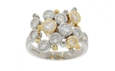 Mixed Gold Multi-Diamond Bubble Ring