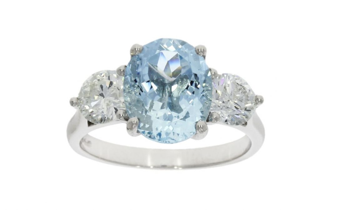 Platinum 2.64ct Aqua & Diamond Ring