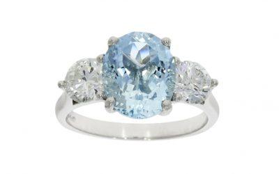 Platinum 2.64ct Aqua & Diamond Ring