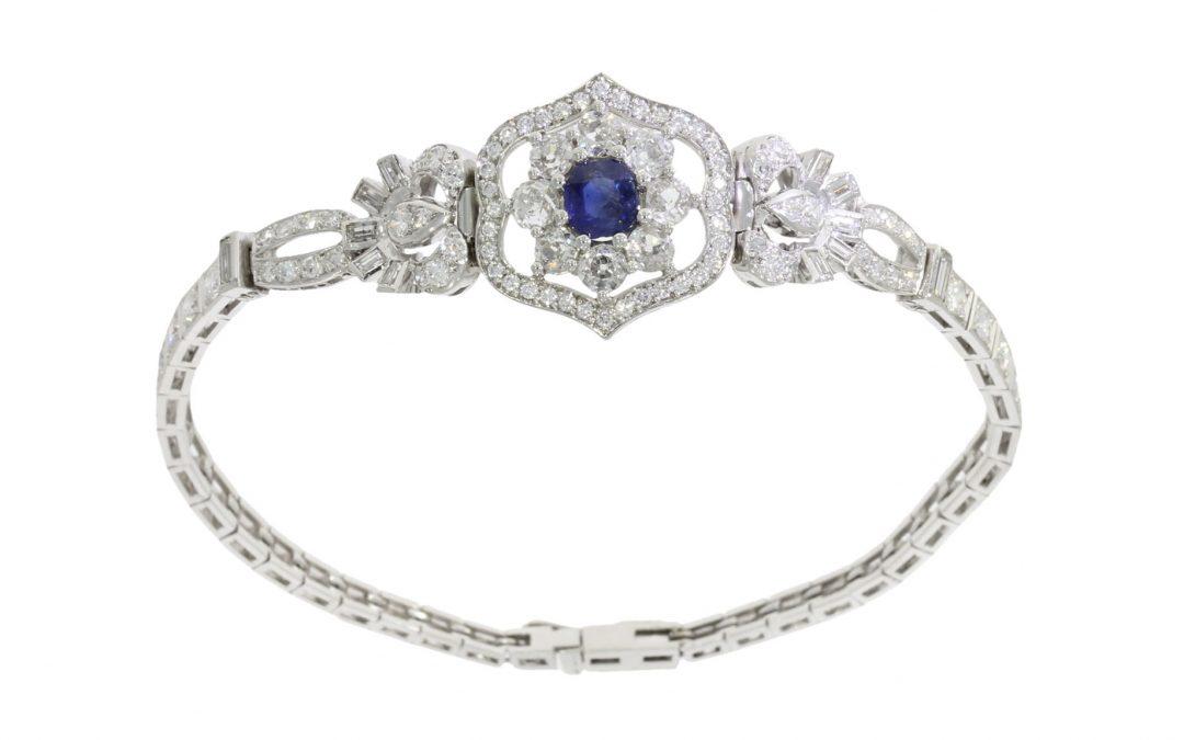 Platinum Art Deco Sapphire & Diamond Bracelet