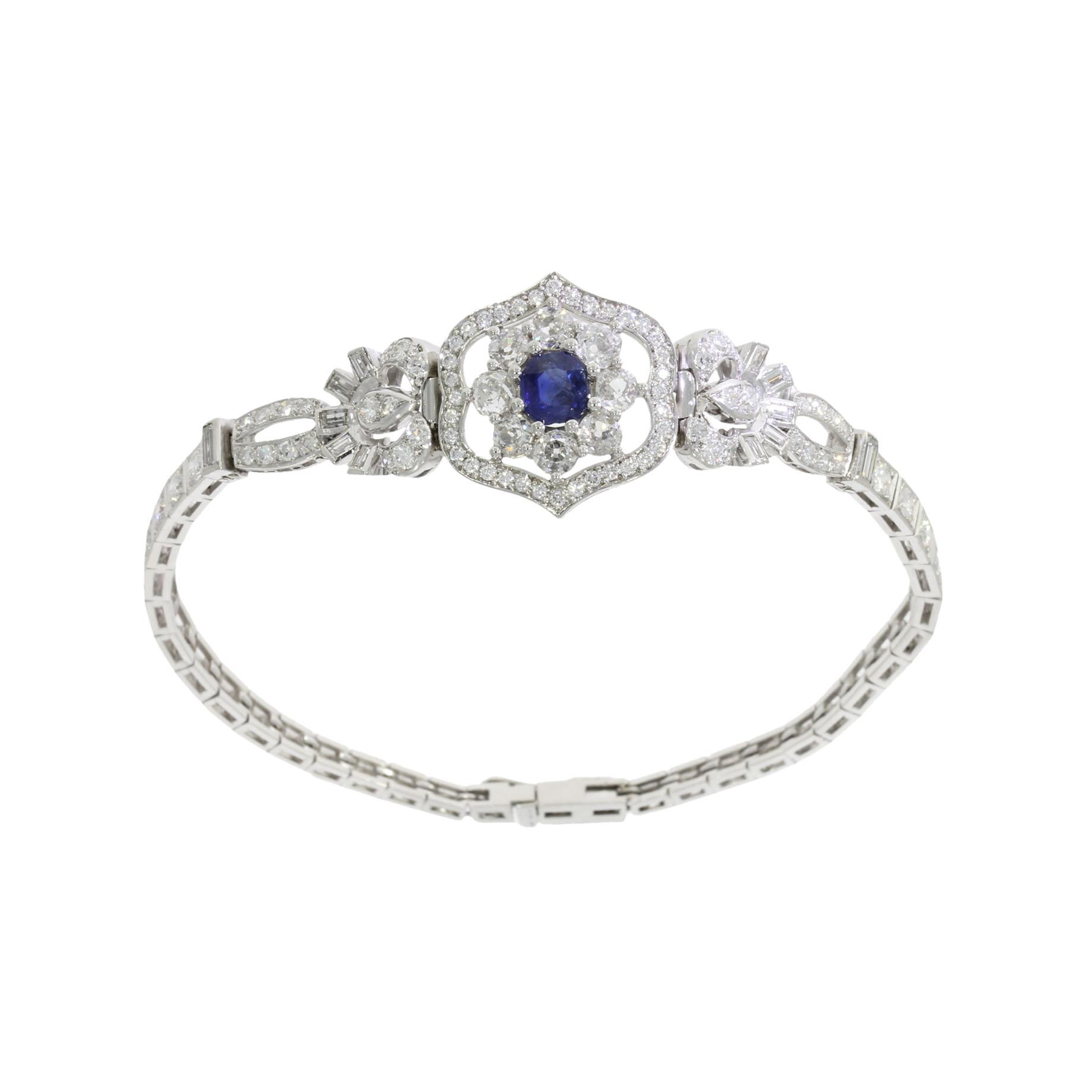 a 5ct blue sapphire and diamond art deco bespoke bracelet design made in bath uk
