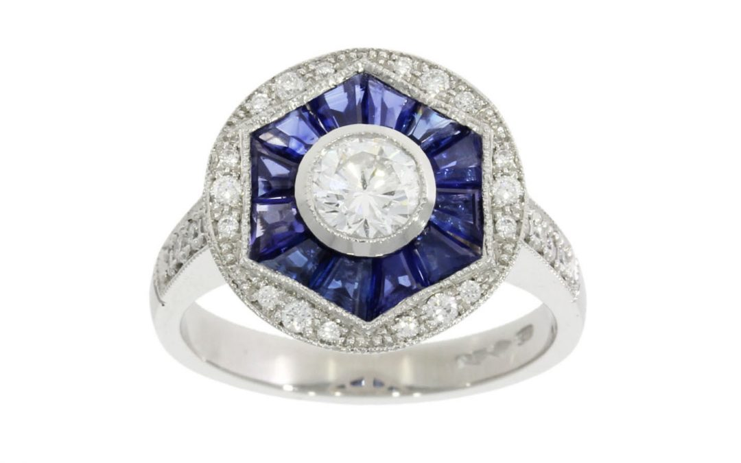 Platinum Art Deco Sapphire & Diamond Ring