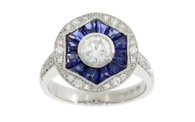 Platinum Art Deco Sapphire & Diamond Ring