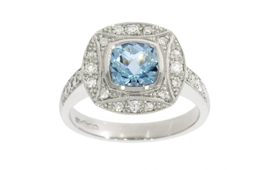 Platinum Diamond & Aquamarine Cluster Ring