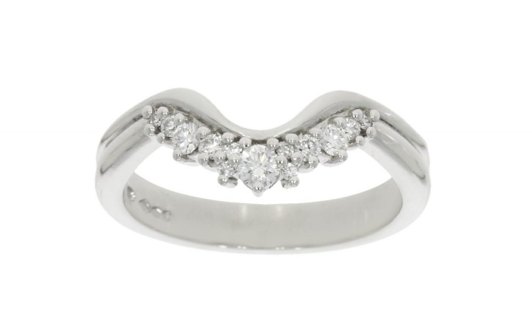 Platinum & Diamond Shaped Wedding Ring