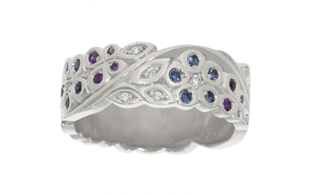 Platinum Engraved Multi-Stone Floral Ring