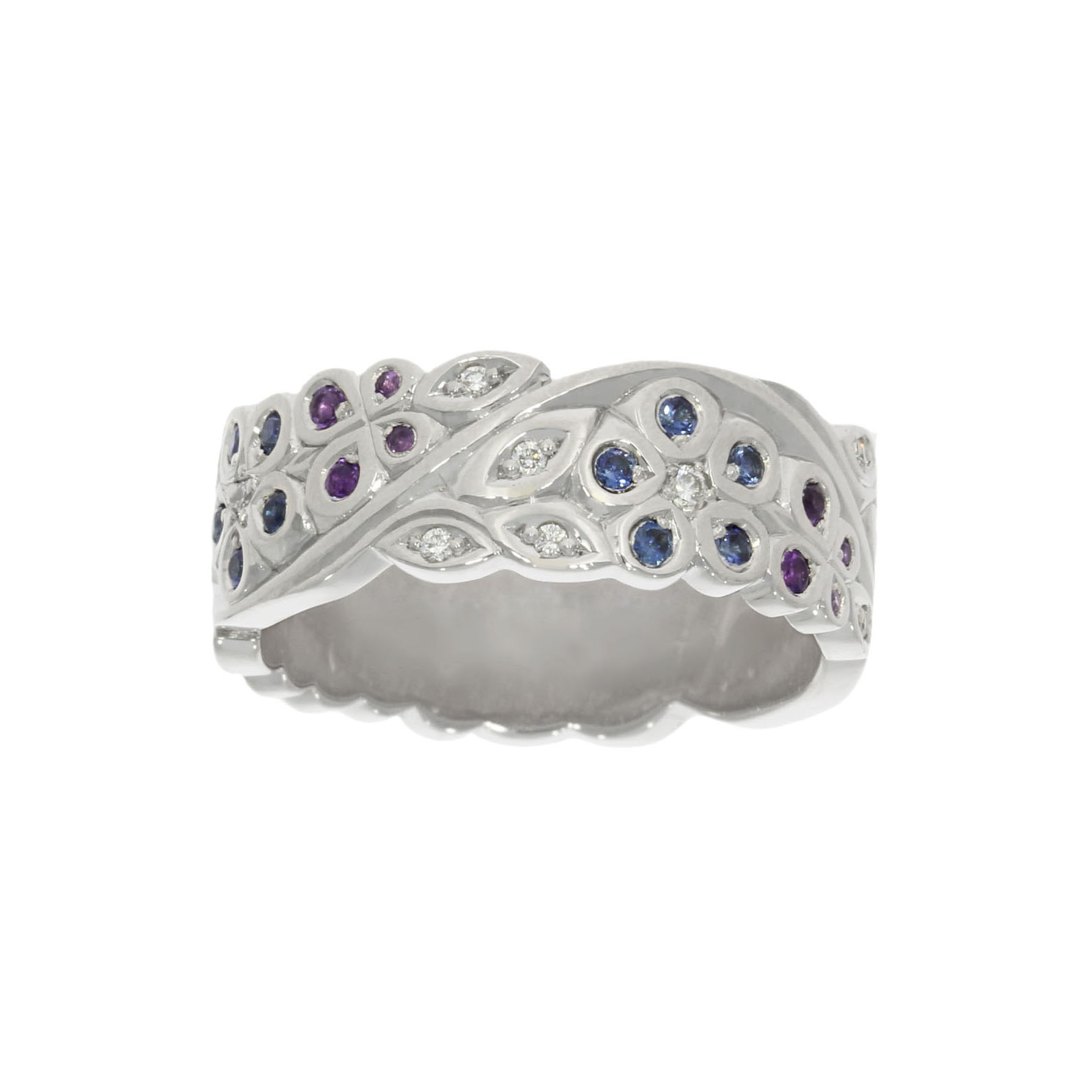 deeply engraved multi coloured sapphire floral and leaf groom's ring