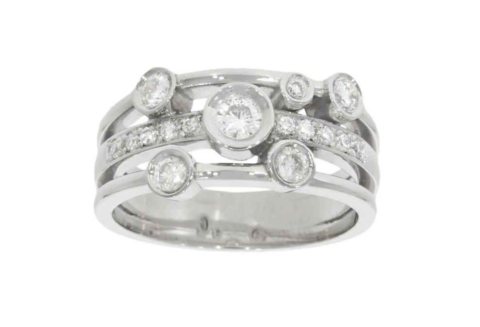 Platinum Multi-Diamond 3-Band Ring
