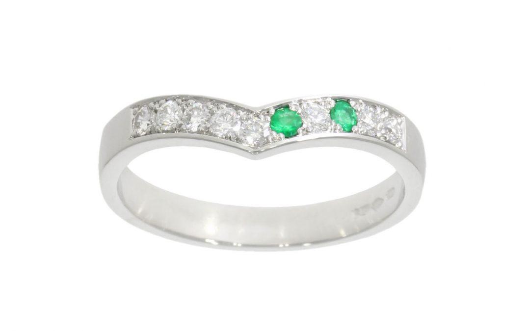 Platinum Offset Emerald Eternity Ring