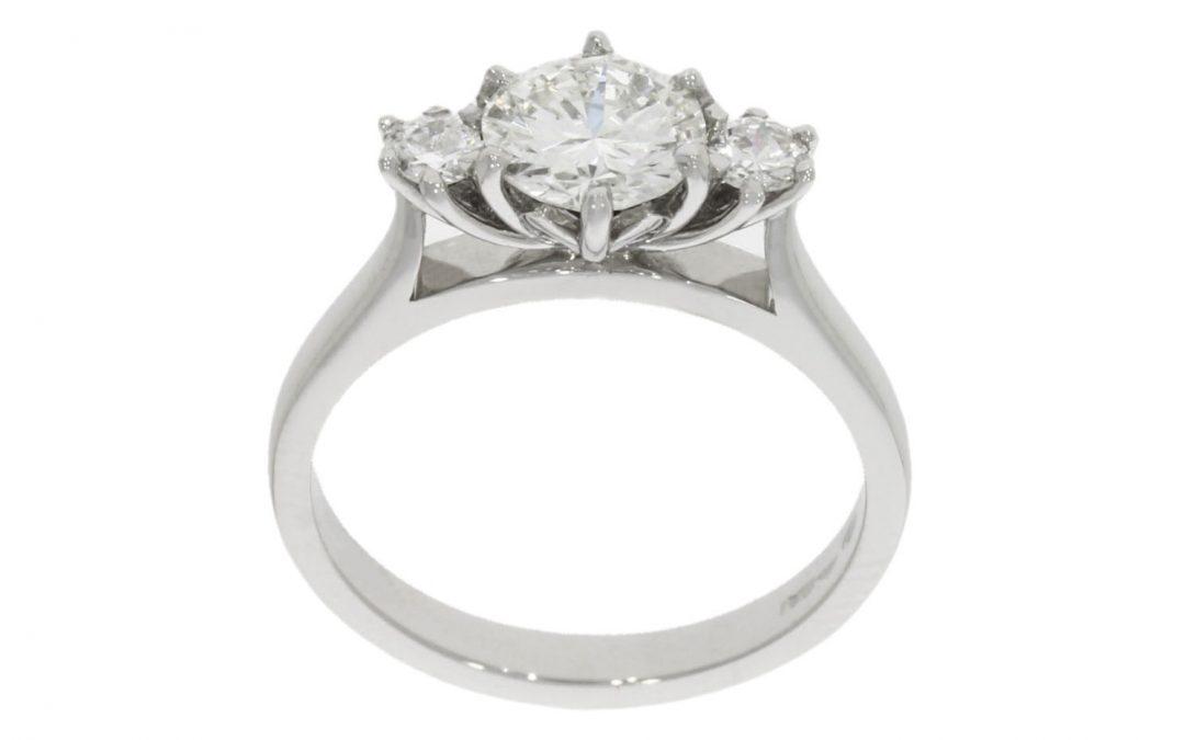 Platinum Protea Flower Engagement Ring