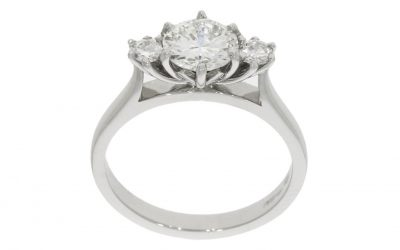 Platinum Protea Flower Engagement Ring