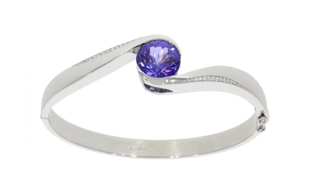 Platinum Tanzanite & Diamond Bangle