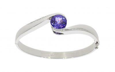 Platinum Tanzanite & Diamond Bangle