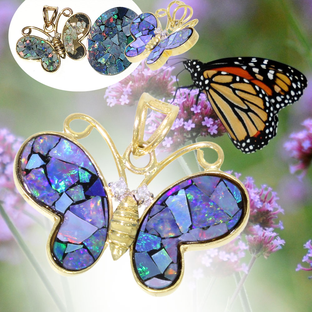 opal butterfly art imitating life necklace pendant uk