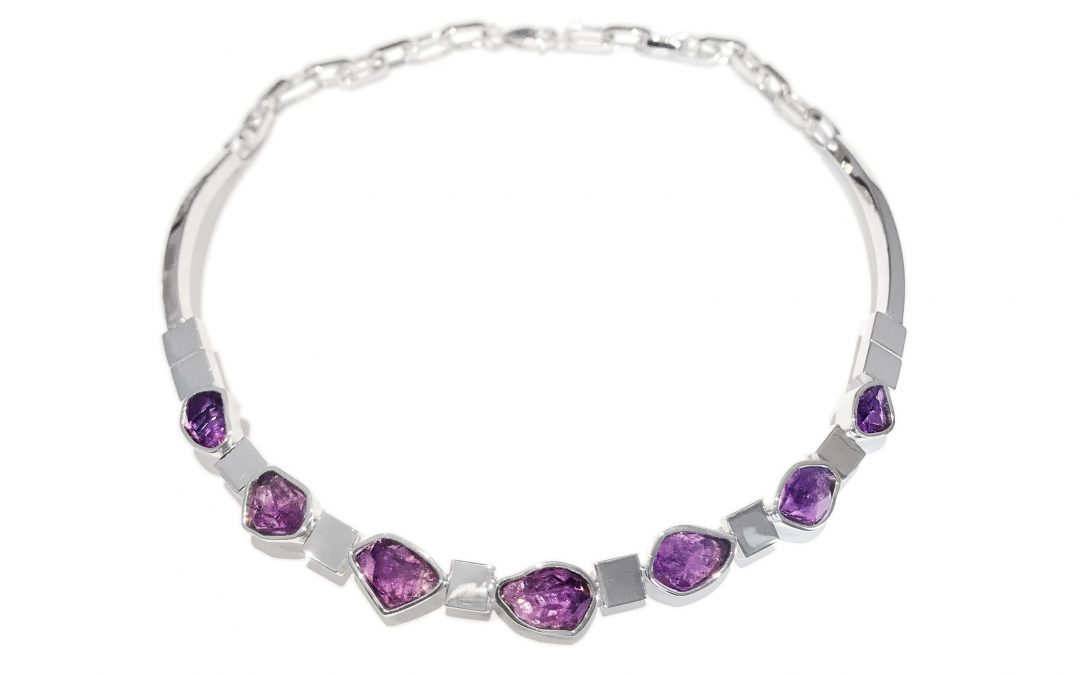Silver & Rough Cut Amethyst Neckpiece