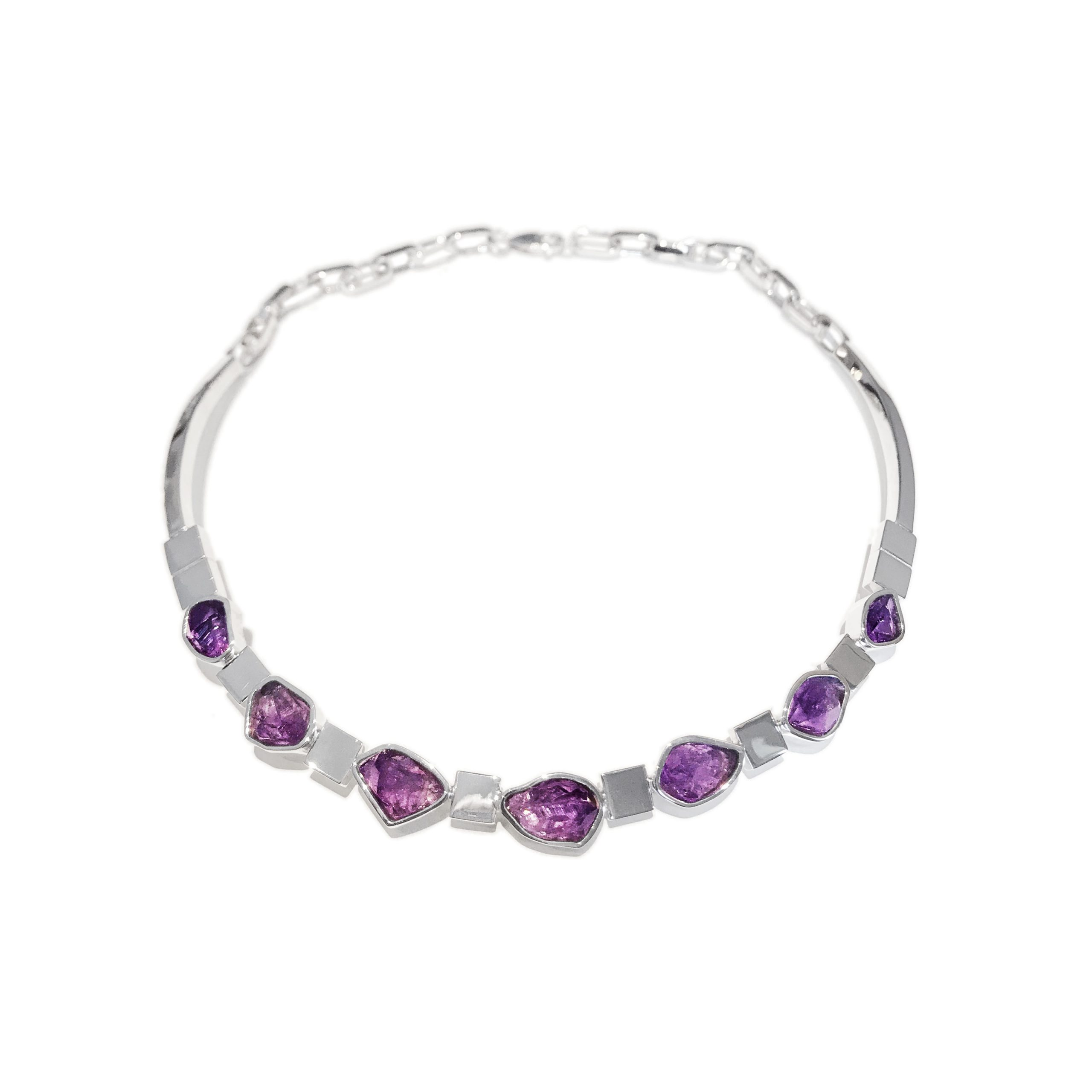 sterling silver rough raw cut amethyst bespoke necklace collar best goldsmith uk
