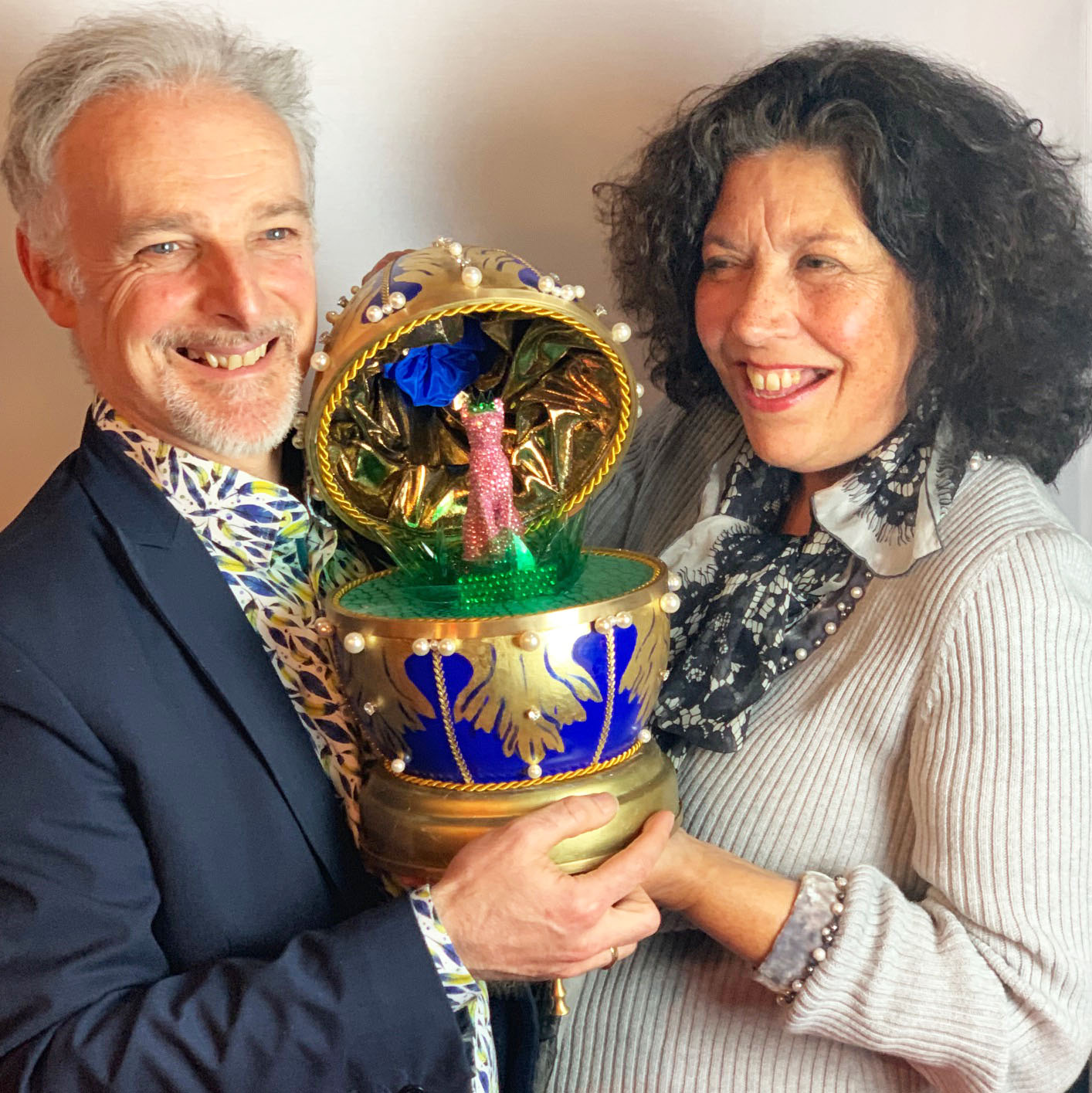 Nicholas Wylde and Jane Knapp presenting their finished Wylde faberge egg style egg