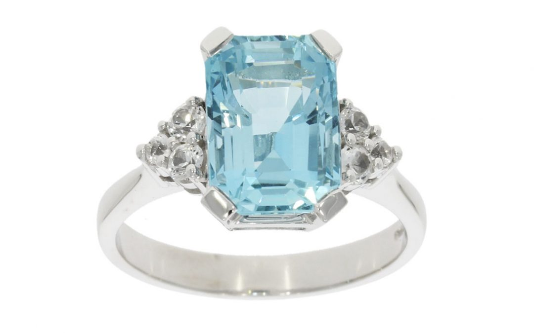 White Gold Aquamarine & Sapphire Ring