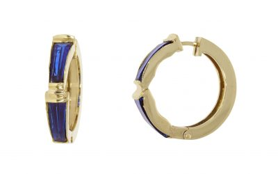 Yellow Gold Blue Glass Hoops